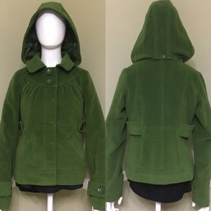 Anthro Tulle Hooded Peacoat, Moss Green, sz XS